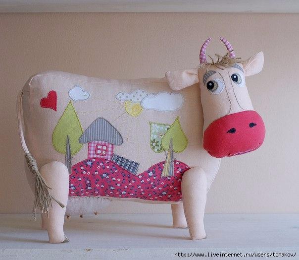 текстильная корова с аппликацией выкройка