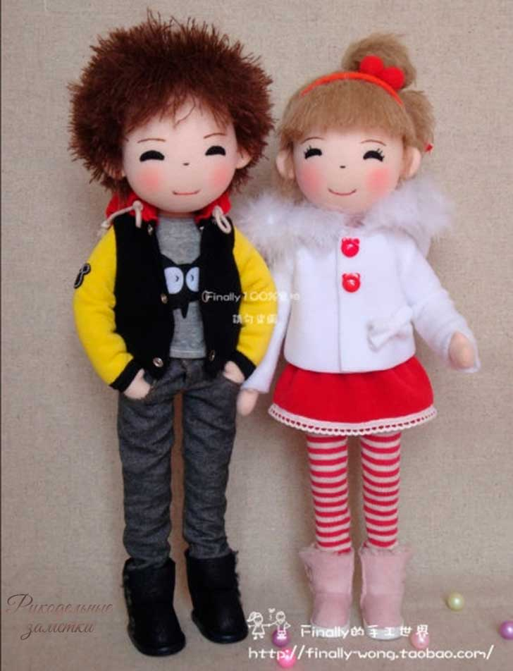 фото выкройка кукол мальчика и девочки