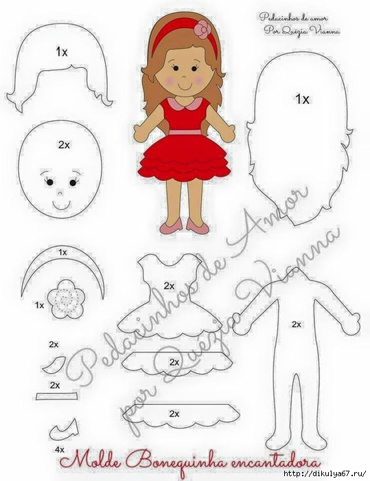 фото выкройка куклы из фетра