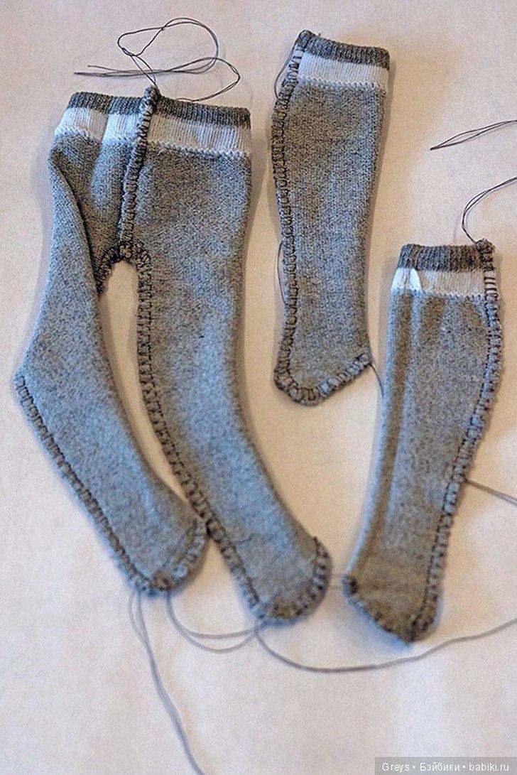 Колготки для куклы из носочка