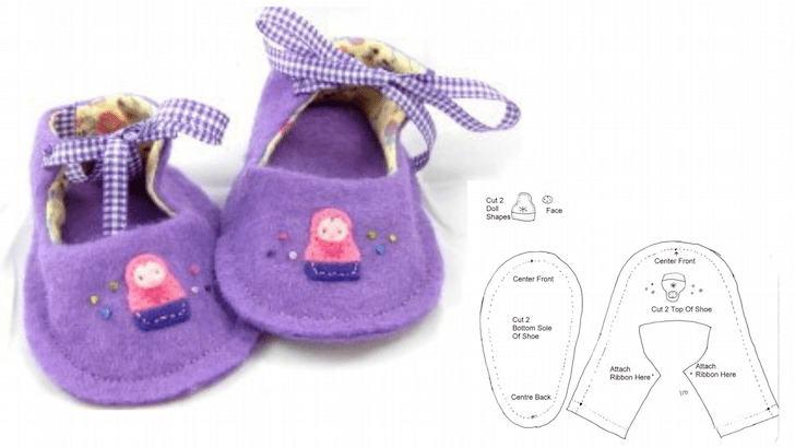 фото выкройка туфли для куклы из войлока