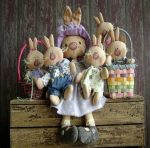 Выкройки зайчихи с зайчатами и семейной пары