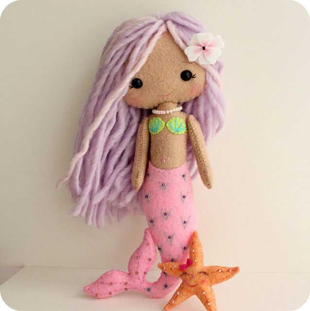 кукла русалка из фетра