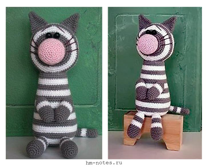 Схема вязания полосатого кота с большим носом