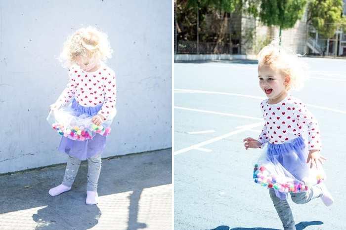 Детская юбка из тюля с помпонами
