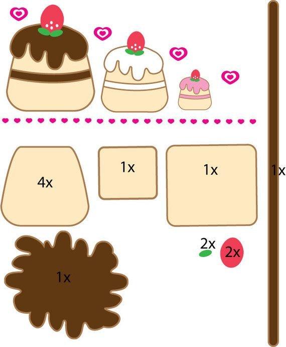 Выкройка торты и пирожное из фетра
