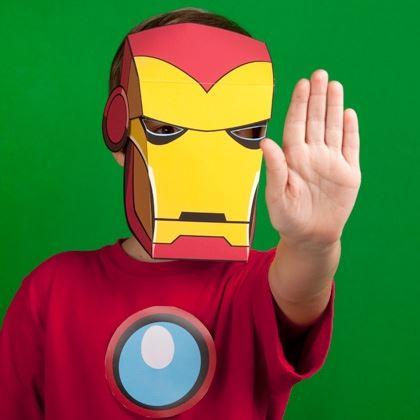 детская маска Железный человек из бумаги