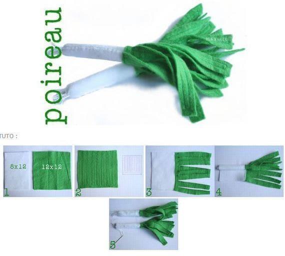 зеленый лук из фетра