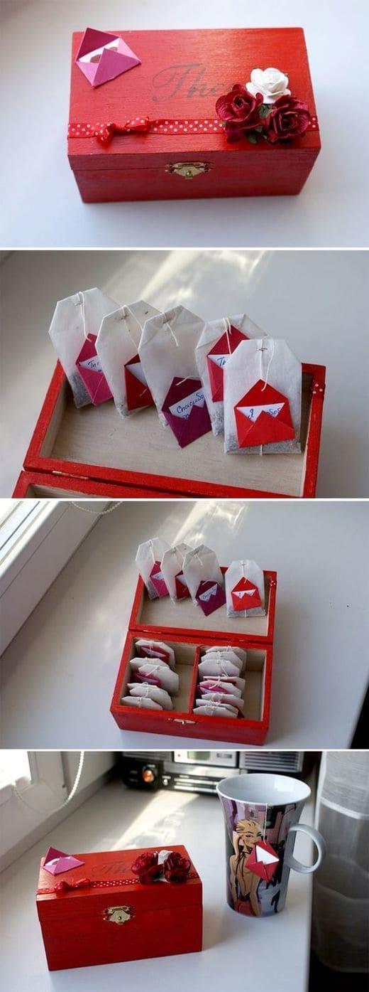 валентинки своими руками из чайных пакетиков