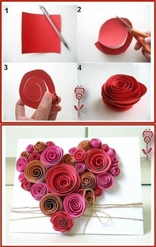 сердце из бумажных цветов на день святого валентина