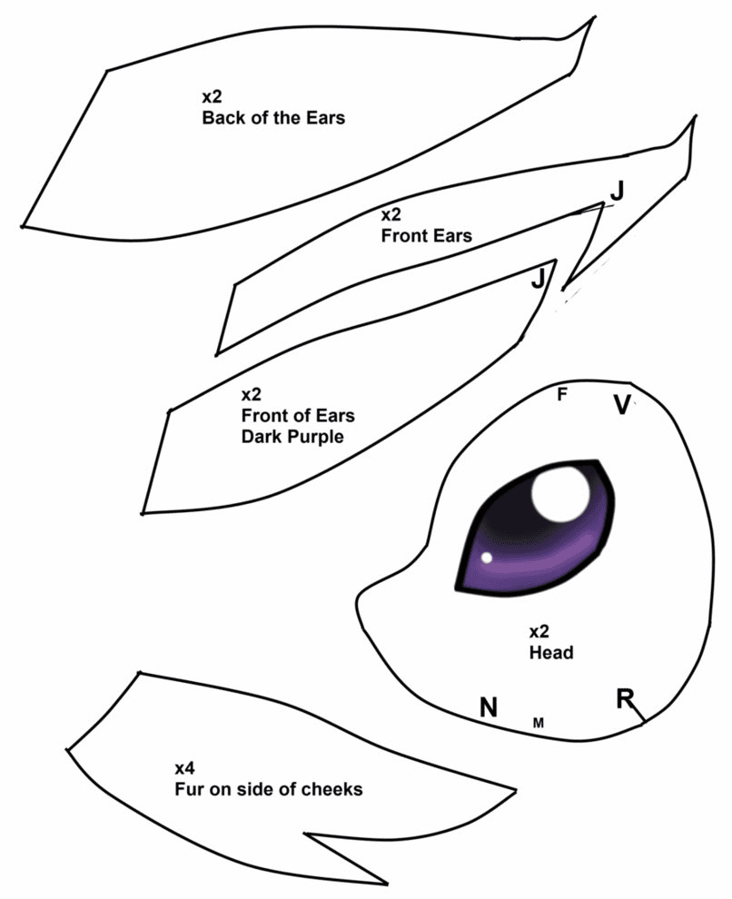 выкройка покемона эспеона