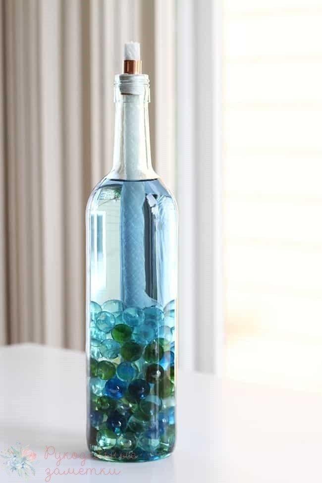 Садовая лампа-факел из бутылки