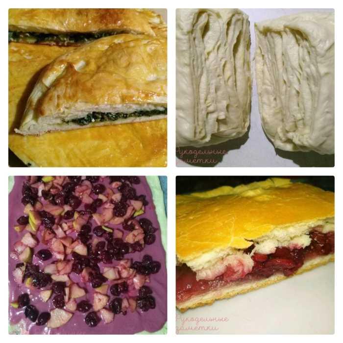 Пироги со шпинатом и свежими фруктами из слоеного дрожжевого теста