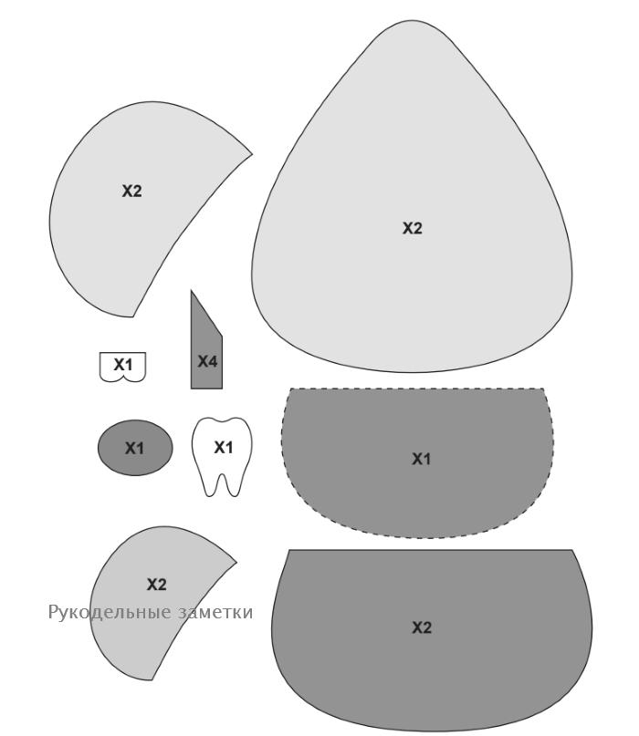 Мышка зубная фея из фоамирана выкройка