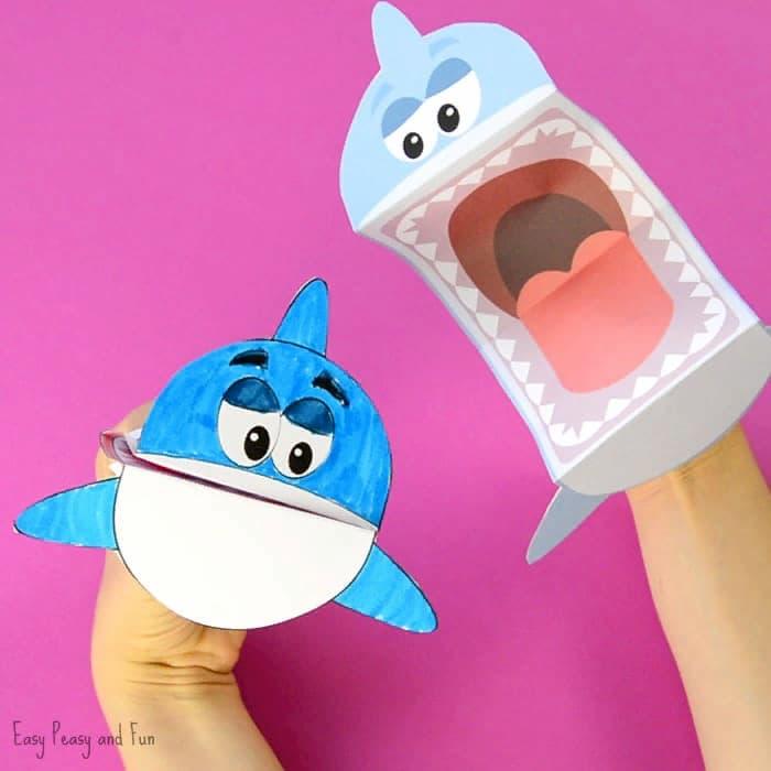 Акулы из бумаги для веселой игры