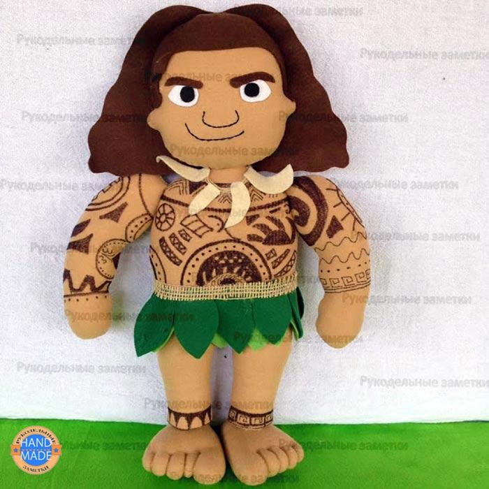 Выкройка кукол Моана и Мауи, петушка Хей Хей и поросёнка Пуа