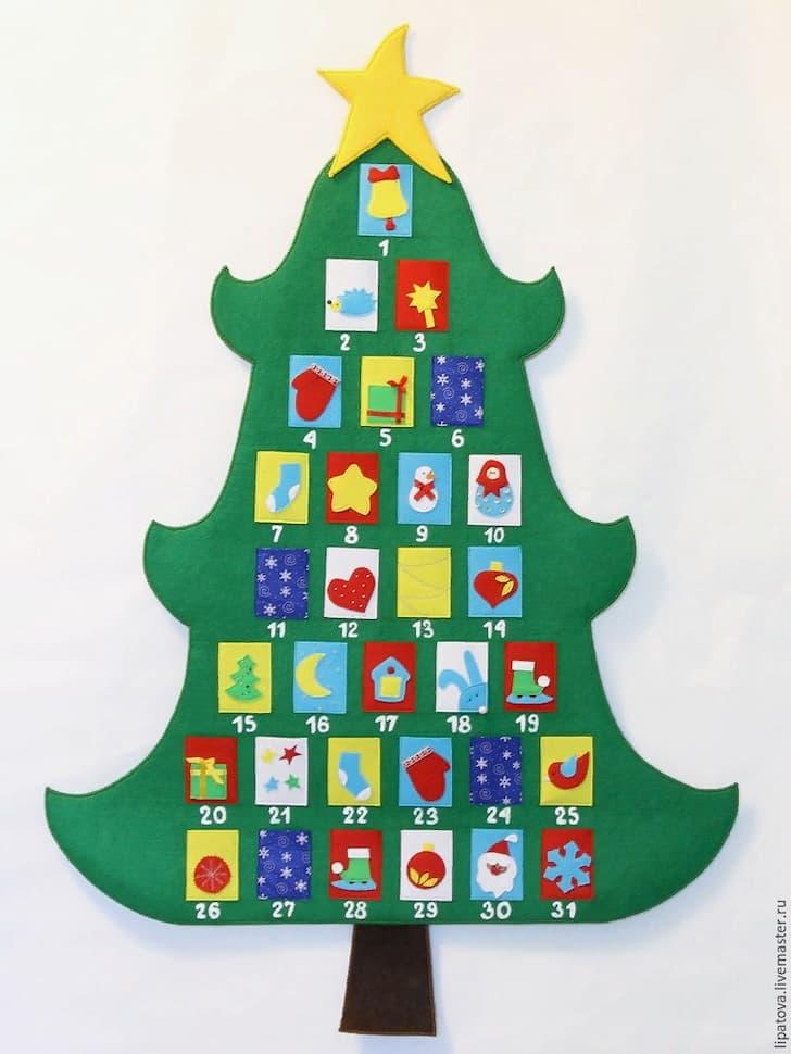 рождественский календарь из фетра в виде ёлки с кармашками